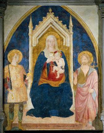 Francesco d'Antonio di Bartolomeo Madonna del Latte e i Santi Giorgio e Giovanni Battista Affresco, 1430 Loro Ciuffenna, Santuario della Madonna delle Grazie