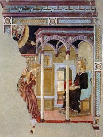 Giovanni di ser Giovanni, detto lo Scheggia Annunciazione Affresco staccato, 1440-1450 Castelfranco di Sopra, Badia di San Salvatore a Soffena