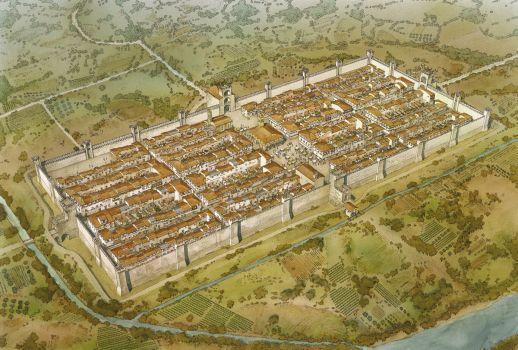 Museo delle Terre Nuove, Ricostruzione ideale di Castel San Giovanni alla fine del Medioevo, illustrazione